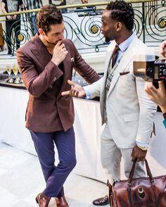 With @davidgandy_official during the @chester_barrie presentation on Sunday  Photo by @omirithomas  #LCM #lcmss17 #londonfashionweek #british #britishfashioncouncil #model #style #fashion #bfc #london #cutsforhim