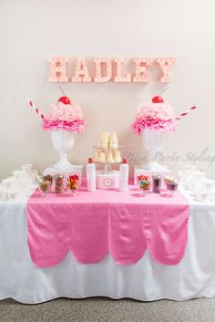 Love this pink ice cream birthday party! See more party ideas at CatchMyParty.com!