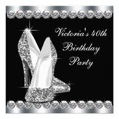 Womans Elegant Black Birthday Party Invitation