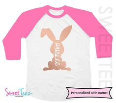 ef17572a4 Easter Shirt Bunny Shirt Girl Pink Raglan Rose Gold Bunny Girly Personalized  Shirt Toddler Youth Shirt Top