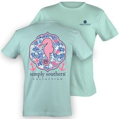 NEW Simply Southern Preppy Seahorse Starfish Anchor Bow Girlie Bright | SimplyCuteTees