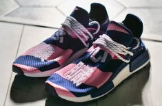Look for the Pharrell x BBC x adidas NMD Hu Trail Heart/Mind Purple Pink to release on October in Tokyo. Adidas Human Race, Human Race Nmd, Adidas Nmd, Adidas Sneakers, Billionaire Boys Club, Sneaker Release, Heart And Mind, Pharrell Williams, Bbc