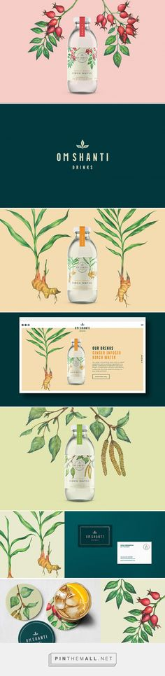 Om Shanti Drinks - Birch Water Labels - by Magenda Alieu. Soure: Daily Package Design Inspiration. Pin curated by #SFields99 #packaging #design #inspiration #ideas #creative #product #drinks #alcoholic #range #color #illustration #typography #label #bottle #consumer #branding