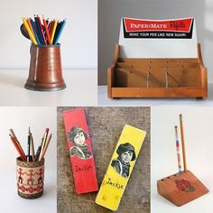 Why stash pens and pencils in a drawer when you can do double duty - display in vintage style. .  .  At the shops of Vintage and Main, it's all about function AND form - do the task at hand but make your statement too.  www.etsy.com/pages/vintageandmain