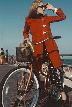 coat, pants, bike