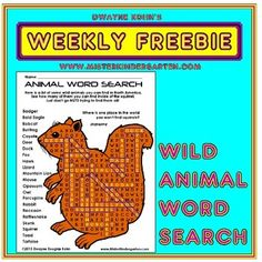 A fun word search featuring North American wild animals.Available as a black and white student reproducible as well as a full color teacher sample revealing the answers!For more Wild Animal fun:Wild Animal Thematic UnitWild Animal Paper Bag PuppetsRain Forest Animals Thematic UnitAnimal MasksIn Spanish:Animales Salvajes (Wild Animals in Spanish)La Selva Tropical (Rain Forest in Spanish)Have you missed any of the previous WEEKLY FREEBIES?