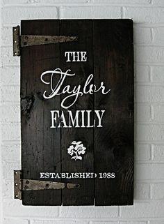 family sign made out of old cabinet door.  You could put this over a breaker box .