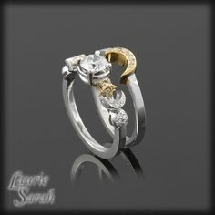 Sun Moon and Stars Diamond Engagement Ring and Wedding Band Set - LS1561