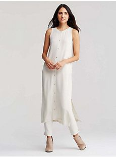 Icon Sleeveless Duster in Silk Georgette Crepe | EILEEN FISHER