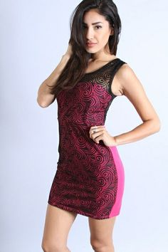 *** New Style ***LACE DRESS WITH CONTRASTING BUILT-IN LINING AND ZIPPERED BACK