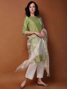 Buy Green Pintuck Cotton Kurta Online at Jaypore.com