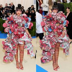 Rihanna Met Gala 2017 Comme des Garcons ruffled dress, Dsquared2 Riri sandals, Chopard diamond watch and flower earrings
