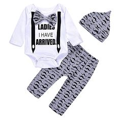c24ece448663 Newborn Valentines Baby Boy Clothes Coming Home Outfits Printed With Ladies  I Have Arrived BowTie Romper Pants Hat Set    Check this awesome product by  ...