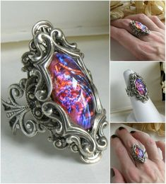 ---> [my store] for more info or to purchase [Pele] facebook / etsy / the writing desk A the molten opal blazes from it's window of flourishing silver. It consumes you in to its fiery tempest. T...