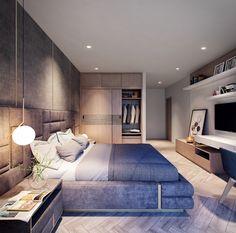 Vinhomes Central Park-Viet Nam on Behance Modern Bedroom Design, Home Room Design, Small Room Bedroom, Master Bedroom Design, Home Office Design, Home Decor Bedroom, Interior Design Living Room, Modern Room, Suites