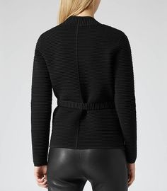 Womens Black/white Textural Knit Jacket - Reiss Mo