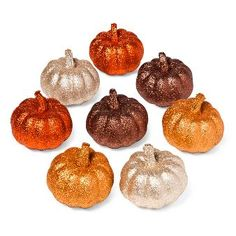 Harvest Glitter Mini-Pumpkins - 8ct