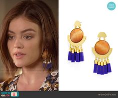 Aria's floral top and yellow leather jacket on Pretty Little Liars.  Outfit Details: https://wornontv.net/58342/ #PLL