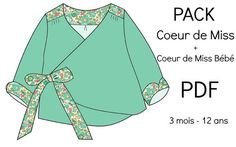 """PACK Patrons """"Coeur de Miss"""" + """"Coeur de Miss Bébé"""" - PDF Baby Patterns, Sewing Patterns, Chut Charlotte, Tricot Baby, Dress Anak, Gifts For Photographers, Camping Gifts, Simple Bags, Baby Winter"""