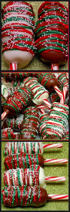 THESE ARE BASICALLY A PARTY ON A PEPPERMINT STICK FEATURING CHOCOLATE DIPPED MARSHMALLOWS! THREAD MALLOWS ON CANDY CANE STICKS (BREAK OFF ROUNDED PART) AND DIP IN CHOCOLATE. DECORATE WITH MELTED RED AND GREEN CHOCOLATE. ADD SPRINKLES!