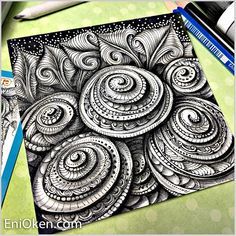 Fractalize. Color and Black and White Zentangle Drawings. By Eni Oken.