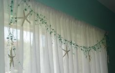 Starfish Garland,Beaded Garland,Beach Decor,Seashell Garland,Shower Curtain…