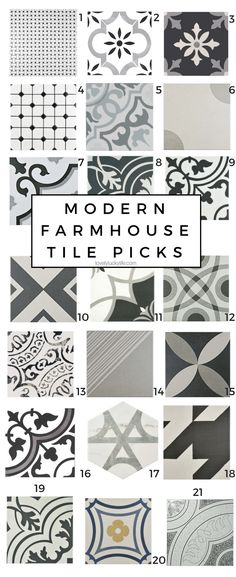 tile picks for the laundry room - modern farmhouse tile options. tile picks for the laundry room – modern farmhouse tile options… these are so fun for a little dash of fun! ceramic tiles for a touch of vintage farmhouse vibe Laundry Room Tile, Modern Laundry Rooms, Modern Farmhouse Bathroom, Room Tiles, Farmhouse Style Kitchen, Modern Room, Farmhouse Laundry Rooms, Modern Farmhouse Design, Classic Bathroom