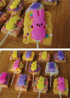 These Rice Krispies Peep Pops are a great Easter dessert your kids can help you make for the whole family and be super proud of. Try different icing and sprinkle colors and get creative!