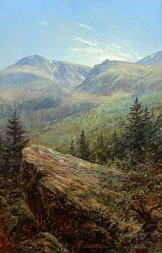 Tuckerman's Ravine on Mt. Washington, White Mountains, NH | From a unique collection of landscape paintings at https://www.1stdibs.com/art/paintings/landscape-paintings/
