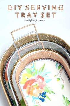 DIY Serving Tray Set - The Pretty Life Girls - Conscious consumption Cheap Diy Home Decor, Diy Home Decor Projects, Cute Crafts, Easy Crafts, Handmade Crafts, Mod Melts, Idee Diy, Diy Organization, Diy Party