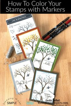 Wondering how to use your markers with your rubber stamps, clear stamps, and cling mount stamps? I've got the tutorial for you complete with some simple handmade cards! Follow along at www.klompenstampers.com #stampingwithmarkers #markertechniques #craftwithpaperandmarkers #cardmakingtutorials #klompenstampers #jackiebolhuis