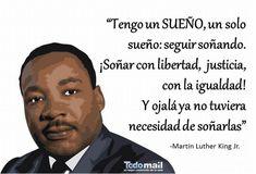 Martin Luther King una vez tuvo un sueño y allá donde esté, verá que poco a poco se ha hecho realidad. Luchador pacifista, dedicó su vida a trabajar por los derechos civiles de los afroamericanos. ¡Y es que hay que luchar por los sueños!