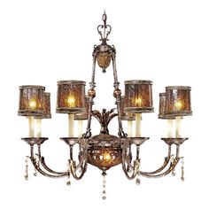 Metropolitan Lighting Chandelier with Brown Glass in Sanguesa Patina Finish | N6078-194 | Destination Lighting