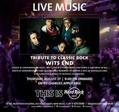 Tribute to Classic Rock by Wits End at Hard Rock Cafe, DLF Place Saket on 27 August 2015 Cover Band, Book Launch, Upcoming Events, Classic Rock, Music Bands, Live Music, Hard Rock, The Help, Nostalgia