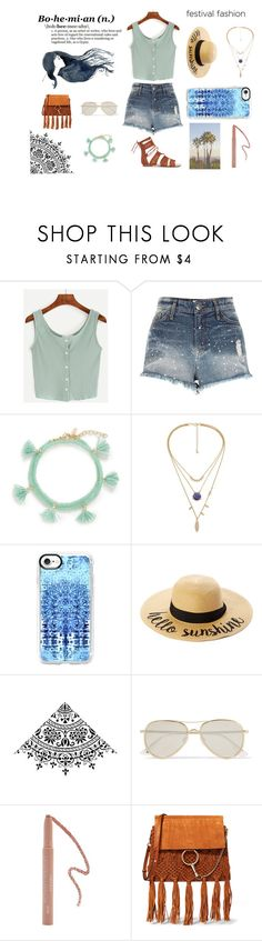 """Festival Fashion"" by mothernaturesdaughter ❤ liked on Polyvore featuring River Island, Shashi, Casetify, C.C Cheveux, Le Specs, Forever 21, Chloé, boho, coachella and festivalfashion"
