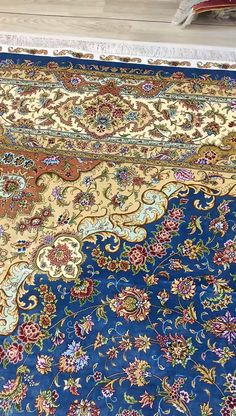 New nice design blue handmade silk carpet in size 9x12ft(274x366cm)