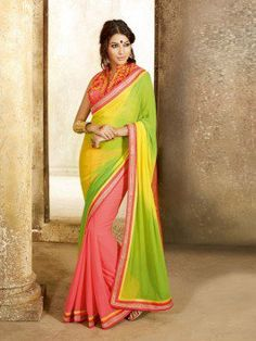 Light Pink And Green Georgette Saree With Embroidery And Stone Work