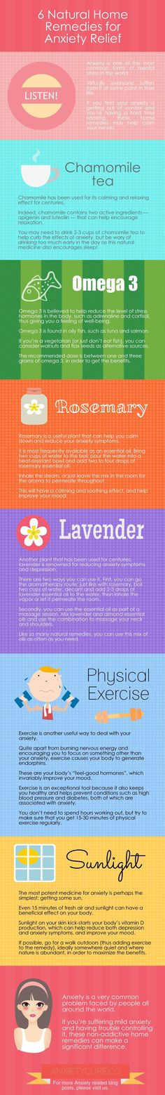 6 Natural Home Remedies for Anxiety Relief Infographic #anxiety