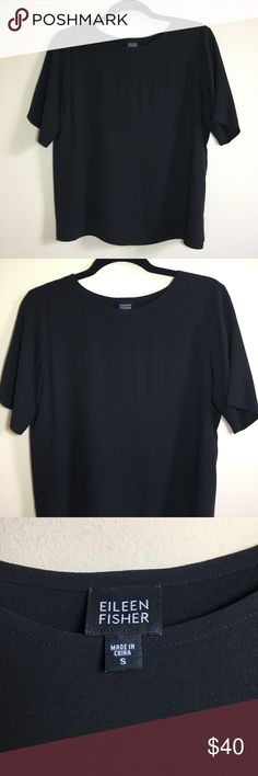 75b3afd3656 EILEEN FISHER Black Silk Tee Black boxy style top, 100% silk. Excellent  condition