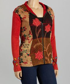 Look what I found on #zulily! Red Floral Patchwork Hoodie - Plus #zulilyfinds