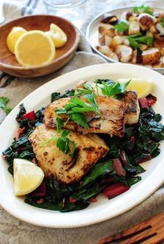 Seared Cod with Swiss Chard and Roasted Turnips / Bev Cooks Cod Recipes, Seafood Recipes, Dinner Recipes, Healthy Recipes, Shellfish Recipes, Healthy Dishes, Delicious Recipes, Healthy Comfort Food, Healthy Eating