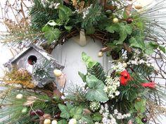 Country Winter primitive Door Wreath Floral Birdhouse Arrangement(Christmas ideas)