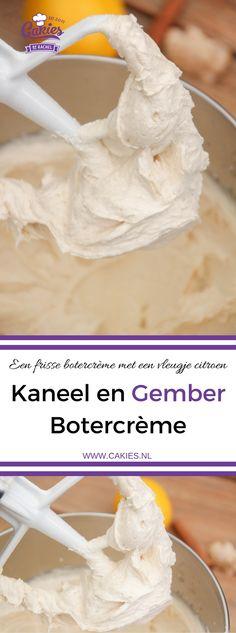 Deze geweldige botercrème van kaneel, gember en een vleugje citroen past goed bij pompoen pecan cakejes en is een heerlijke vulling voor taarten. Recept in het Nederlands.
