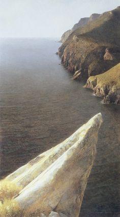 Marzio Tamer, Belvedere , Tuscany coast, tempera on board, cm 70 x 40 . www.salamongallery.com