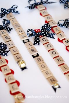 SCRABBLE TILE ORNAMENT... this gives me an idea.. Maybe use as names for other things.. Gift tags?!
