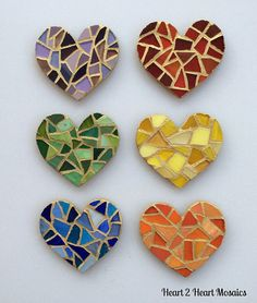 Set of Six Petite Heart Refrigerator or by Heart2HeartMosaics, $30.00