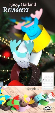 Christmas Cuteness Craft; Reindeer Chained Garland. •°•°Facile Garland - Renne