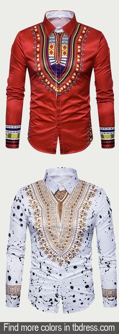 Lapel Ethnic Floral Printed Men's Shirts