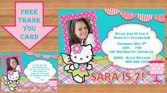 Hello Kitty Invitation, Hello Kitty Birthday, Hello Kitty Birthday Invitation, Hello Kitty Invite, Hello Kitty Party # Hello Kitty 0002 by kellylynn1973 on Etsy