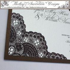 LACE wedding invite (reverse - black invite w/ white lace)